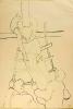 Zeichnung von Arnold Dagahni, die tote Selma wird über eine Leiter aus ihrem erhöten Krankenlager heruntergehoben