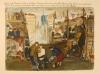 Zeichnung von Arnold Daghani, man sieht die Unterkunft im Arbeitslager Michailowka: viele Menschen auf engem Raum, überall hängt Wäsche, in der Mitte wird scheinbar ein verletzter Mann versorgt
